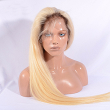 Fast shipping stock ombre blonde full lace wig 1b dark roots blonde full lace with Brazilian virgin hair wig