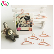 Popular Rose gold Mini Hanger Shaped Paper Clips for promotion