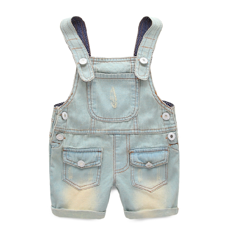 Male child all-match bib pants child wearing white denim shorts 2015 thin summer baby children's clothing trousers