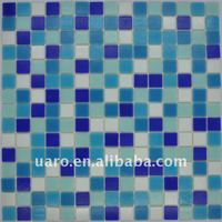 Blue mix color no sands swimming pool no dots glass mosaic