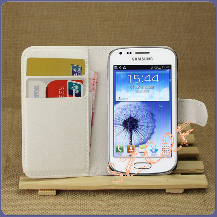High Quality Leather Wallet Case Flip Cover Phone Case for samsung galaxy trend Duos S7562