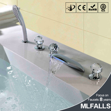 Modern bath tub designs three Crystal Ball handle led waterfall faucet walk in tub shower combo