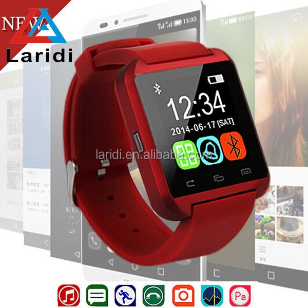 2015 Newest U8 pedometer sports bluetooth wrist watch led bracelet watch with 1.48'' touch display