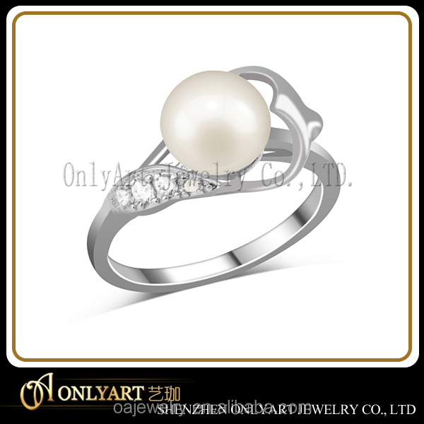 pearl design 925 silver wedding ring & 18K gold jewelry