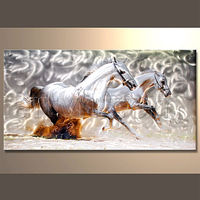 Wholesale Handmade Aluminium Horse Painting Metal Wall Art Sculptures