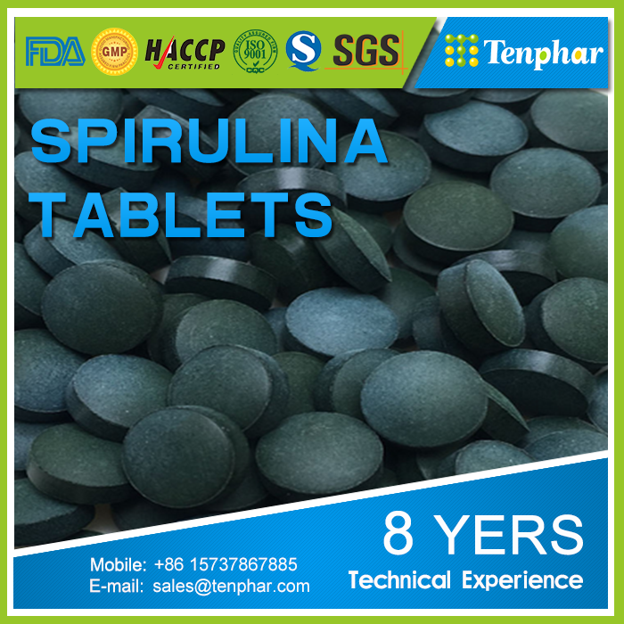 500mg Private Label Spirulina Platensis Chewable Tablet Pills