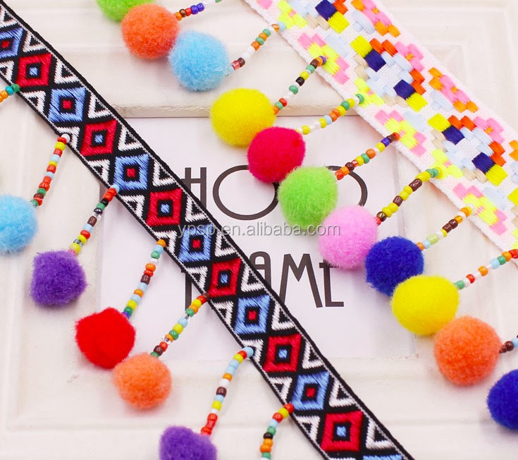 2.5cm Muticolor Pom Pom Tassel Lace Trimmings National Customs Beaded Trimming Fringe Lace For Garment Ornament Accessories