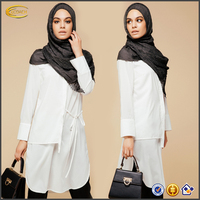 Ecoach Wholesale High quality 2016 muslim lady knee length long sleeve tie-side shirt fashion muslim blouse design without Scarf