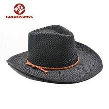 Black paper PU braid western men cowboy straw hat