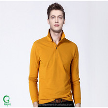 Cheap Mens Cotton Plain Long Sleeves POLO Neck T Shirts