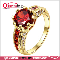 2016 NEW Big Round Red Stone Crystal Sapphire Zircon Vintage Wedding Rings For Men 10KT Yellow Gold Plated Ring Ruby Jewelry