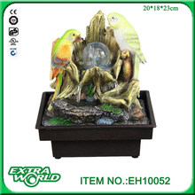 Multi small birds Artificial mini tabletop water fountain with jar