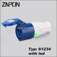 S1234 with led 16A 240V electric plug male female connector