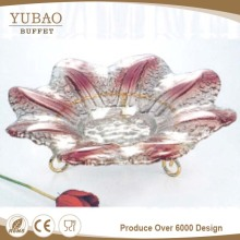Restaurant Equipment Hot Sale Cheap Fruit Glass Plate,Clear Glass Plate With Flower Design