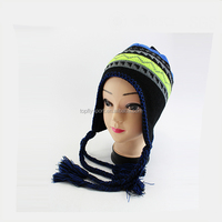 New 100% Acrylic Unisex Winter Warm Knitted Beanie Hat with earflap