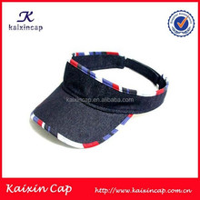 wholesale top quality custom designed denim sun visor cap and hat