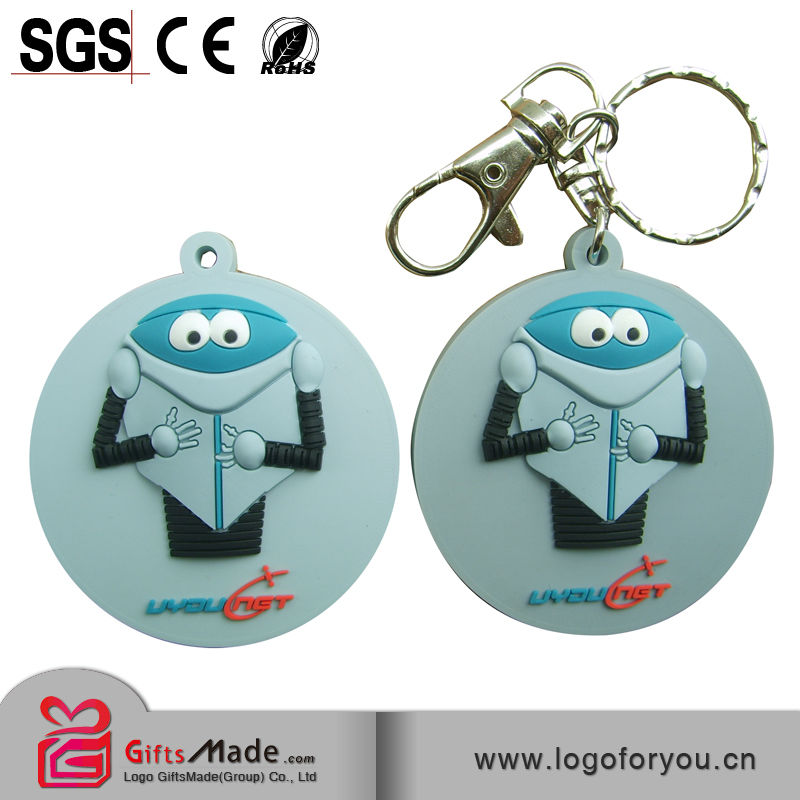 Fashional wholesale custom silicone rubber keychain /keyring