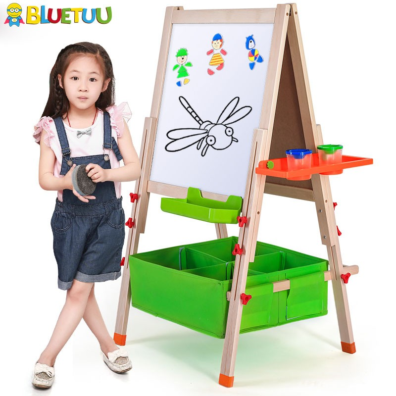 Kids magic mini wooden children magnetic blackboard for photo with easel