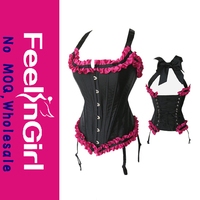 2014 pink and black Waistcoat brand corset sexy top