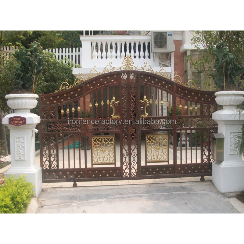 All wrought iron gate with lattice work