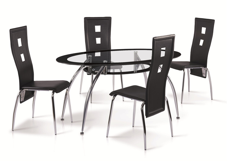 Classical Design Dining Room Set Tempered Glass Top Metal Frame Dining Table and Dining Chair