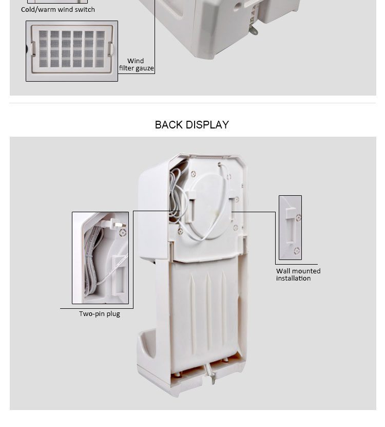 Factory whosale automatic hand dryers with tray hotel restaurant infrared sensor hand blow dryer customized plug hand dryer