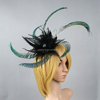 Wholesale Fashion Design Carnival Party Hair Accessories Peacock Feather Fascinator