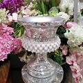 wholesale 40cm White Sparkle Mosaic Diamond event flower pot /vase,out door
