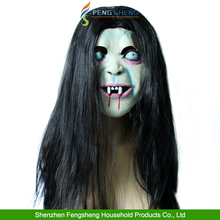 Halloween Mask Sadako Terror Horror With Hair Scary Prop Ghost Latex Mask Party
