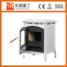 Enamel wood stove type cast iron wood burning stove with glass ceramics