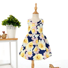 C71016A Wholesale Floral Girl Dress Print Flower Baby Dress Nice Quality dress for Girls