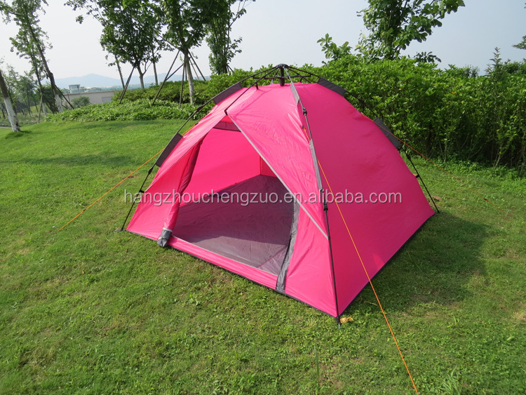 Hot Sale 3~4 single door automatic camping tent,CZC-039 Outdoor leisure picnic tent,3-4 Person pink camping tent