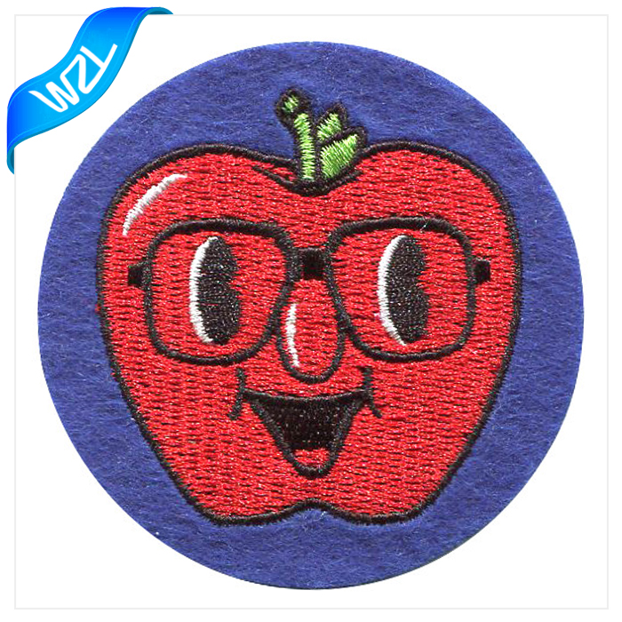 Fashion Felt fabric textile products, iron on backing embroidered patch for sweat