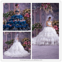 FL-0001 Luxurious High Quality Coloured Wedding Dress With Flower Decoration