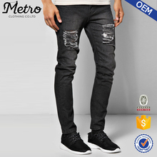 Wholesale Custom Mens Black Ripped Tapered Denim Jeans