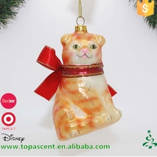Most popular christmas hanging decorations handblown glass cat with red bowknot ornament