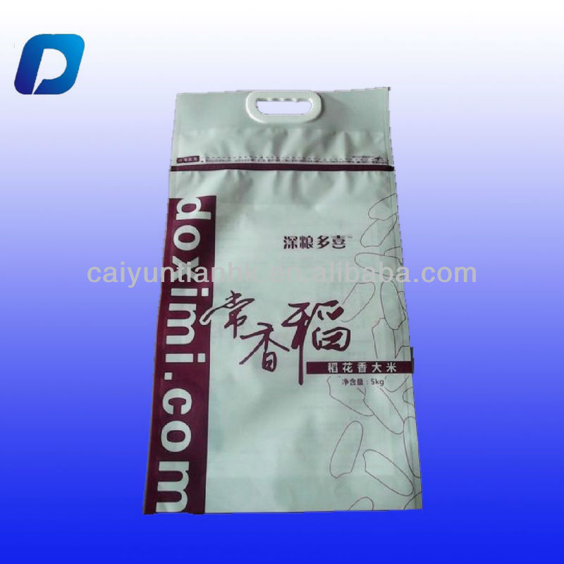 10kg Rice packaging bag /Stand up pouch with zipper for packaging rice/plastic ziplock bag manufacture with handle