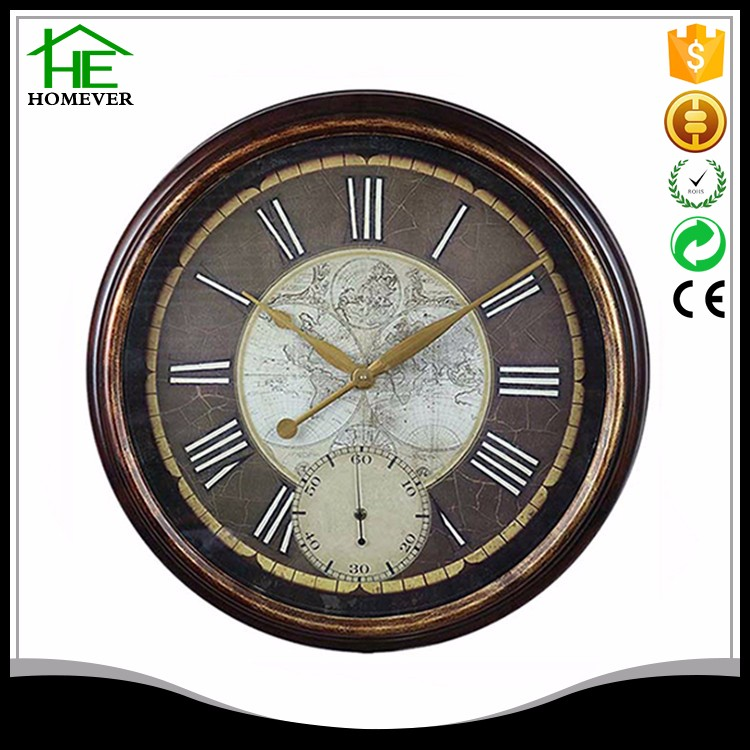 round am pm minute retro dual time clock metal