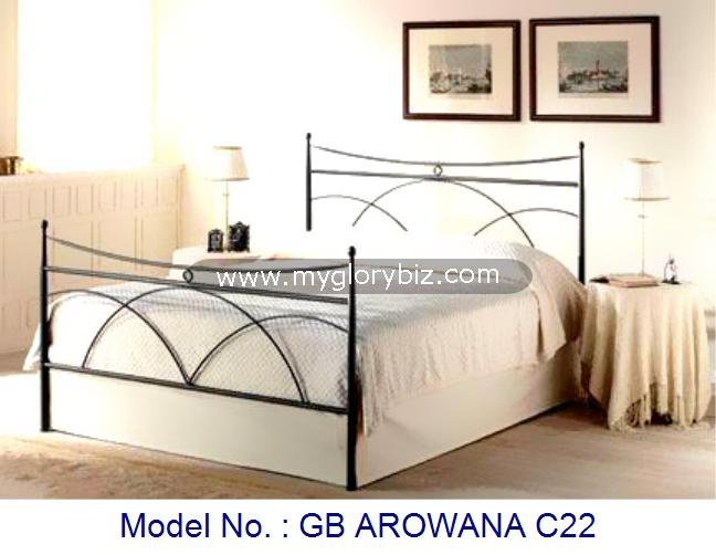 Elegant Style Metal Double Bed For Bedroom With Wooden Sprung, bedroom furniture, latest bed designs, country style bedroom bed