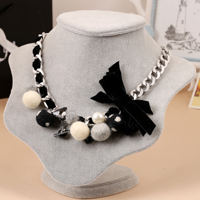 Korean edition jewelry necklace with wool and wool personality charm necklace