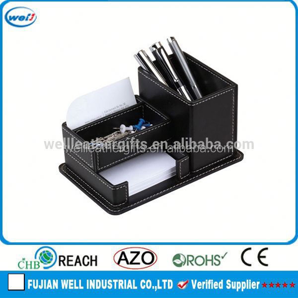 black rotating pen holder with memo pad holder
