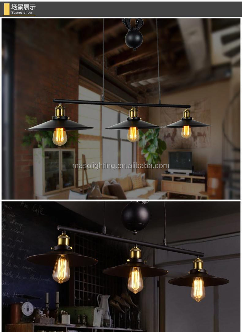 E27 Edison Bulb lamp Loft Vintage Industrial Retro Iron Pulley pendant light Loft Vintage Retro Wrought Iron Black pendant lamp