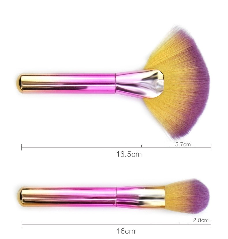 Professional Custom Logo 9pcs Rainbow Cosmetic Makeup Brush Set Best Foundation Brush