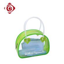 Spring green color clear pvc portable toiletry bags for travel