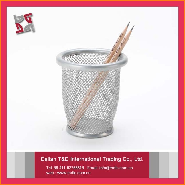 high quality office desktop accessories organizer metal mesh decorative colored desk pen holder