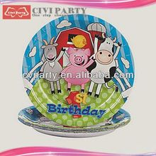 TRADEMARK OEM party Paper Theme Plates novelty butter dishes Colorful round paper plate