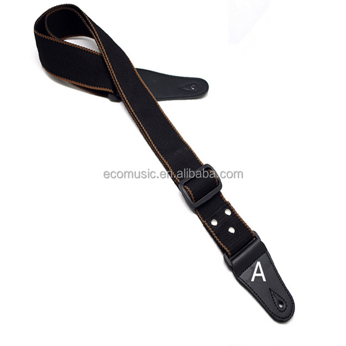 Black Soft Guitar Strap With Top Leather Ends Durablle