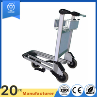 Airport travel design luggage 3 wheel cart with caster wheels