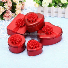 Red Metal tin box candy box wedding box with ribbon flower decoration