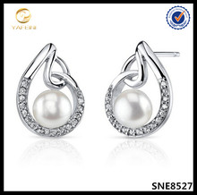 Micro pave diamonds jewelry white freshwater pearl earring designs for girl